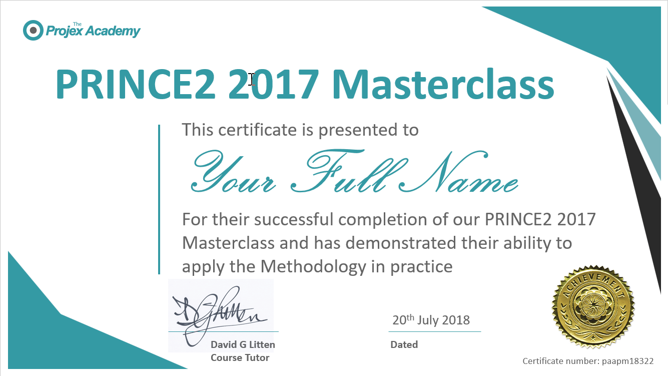 prince2 masterclass certificate example - PRINCE2 Masterclass – Foundation and Practitioner 2017 Syllabus